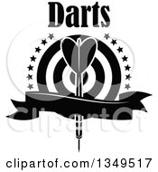 Clipart Of A Black And White Throwing Dart Over A Target With Stars Text And A Blank Ribbon Banner Royalty Free Vector Illustration