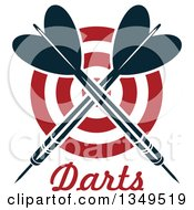 Clipart Of Navy Blue Crossed Throwing Darts Over A Target And Text Royalty Free Vector Illustration