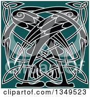 Clipart Of A Black And White Celtic Knot Crane Or Heron Design On Teal Royalty Free Vector Illustration