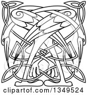 Clipart Of Black And White Lineart Celtic Knot Cranes Or Herons 4 Royalty Free Vector Illustration
