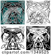 Clipart Of Celtic Knot Crane Or Heron Designs 5 Royalty Free Vector Illustration