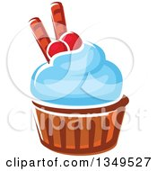Clipart Of A Cartoon Cupcake With Blue Frosting Cranberries And Waffle Tubes Royalty Free Vector Illustration by Vector Tradition SM