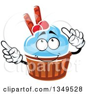Clipart Of A Cartoon Cupcake Character With Blue Frosting Cranberries And Waffle Tubes Royalty Free Vector Illustration