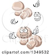 Clipart Of A Cartoon Face Hands And Button Mushrooms Royalty Free Vector Illustration