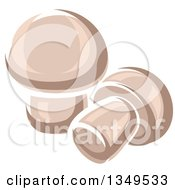 Clipart Of Cartoon Button Mushrooms Royalty Free Vector Illustration