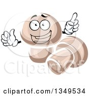 Clipart Of Cartoon Character Of Button Mushrooms Royalty Free Vector Illustration