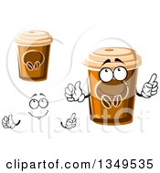 Clipart Of A Cartoon Face Hands And Take Out Coffee Cups Royalty Free Vector Illustration
