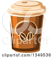 Clipart Of A Cartoon Take Out Coffee Cup Royalty Free Vector Illustration
