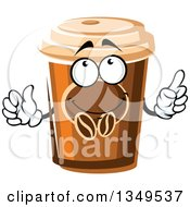 Clipart Of A Cartoon Take Out Coffee Cup Character Royalty Free Vector Illustration
