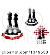 Clipart Of Black And White Chess King And Queen Pieces With A Board And Banners Royalty Free Vector Illustration