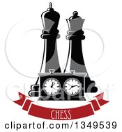 Clipart Of Black And White Chess King And Queen Pieces And A Game Clock Over A Red Chess Banner Royalty Free Vector Illustration