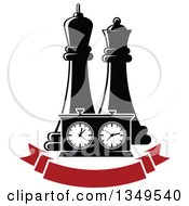 Clipart Of Black And White Chess King And Queen Pieces And A Game Clock Over A Blank Red Banner Royalty Free Vector Illustration
