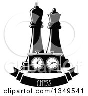 Clipart Of Black And White Chess King And Queen Pieces And A Game Clock Over A Text Banner Royalty Free Vector Illustration