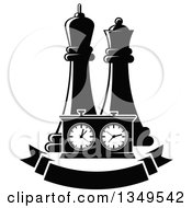 Clipart Of Black And White Chess King And Queen Pieces And A Game Clock Over A Blank Banner Royalty Free Vector Illustration