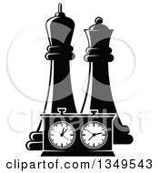Clipart Of Black And White Chess King And Queen Pieces And A Game Clock Royalty Free Vector Illustration
