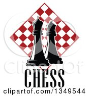 Clipart Of Black And White Chess King And Queen Pieces Over Text And Red And White Checker Board Diamond Royalty Free Vector Illustration