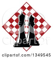Clipart Of Black And White Chess King And Queen Pieces Over A Red And White Checker Board Diamond Royalty Free Vector Illustration
