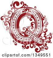 Clipart Of A Retro Red And White Capital Letter Q With Flourishes Royalty Free Vector Illustration