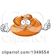 Clipart Of A Cartoon Bun With Sesame Seeds Character Royalty Free Vector Illustration