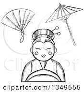 Clipart Of A Black And White Sketched Geisha With A Hand Fan And Parasol Royalty Free Vector Illustration
