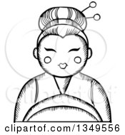 Clipart Of A Black And White Sketched Geisha Royalty Free Vector Illustration