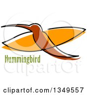 Clipart Of A Sketched Brown And Orange Hummingbird And Text Royalty Free Vector Illustration