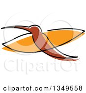 Clipart Of A Sketched Brown And Orange Hummingbird Royalty Free Vector Illustration