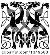 Clipart Of A Black Celtic Wild Dog Knot 4 Royalty Free Vector Illustration by Vector Tradition SM