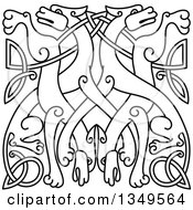 Clipart Of A Black Outlined Celtic Wild Dog Knot 4 Royalty Free Vector Illustration by Vector Tradition SM