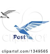 Clipart Of Flying Black And Blue Doves With Post Text Royalty Free Vector Illustration