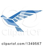 Clipart Of A Blue Flying Peace Dove 5 Royalty Free Vector Illustration by Vector Tradition SM