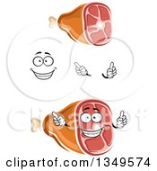 Clipart Of A Cartoon Face Hands And Hams 2 Royalty Free Vector Illustration