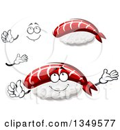 Clipart Of A Cartoon Face Hands And Nigiri Sushi Royalty Free Vector Illustration
