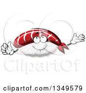 Clipart Of A Cartoon Nigiri Sushi Character Royalty Free Vector Illustration