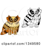 Clipart Of Cute Brown And Black And White Owls 2 Royalty Free Vector Illustration