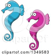 Clipart Of Cartoon Purple And Blue Seahorses Royalty Free Vector Illustration by Vector Tradition SM
