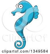 Clipart Of A Cartoon Blue Seahorse Royalty Free Vector Illustration by Vector Tradition SM