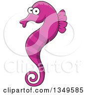 Clipart Of A Cartoon Purple Seahorse Royalty Free Vector Illustration by Vector Tradition SM