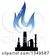 Clipart Of A Black And Blue Silhouetted Natural Gas And Flame Design 2 Royalty Free Vector Illustration