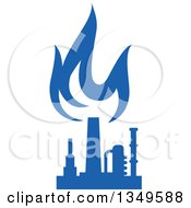 Clipart Of A Silhouetted Blue Natural Gas And Flame Factory 9 Royalty Free Vector Illustration