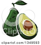 Cartoon Halved And Whole Avocados