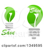 Clipart Of Green Leaf Light Bulbs With Save Text Royalty Free Vector Illustration