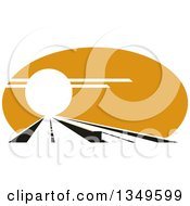 Clipart Of A Straight Highway Leading Into The Sunset Royalty Free Vector Illustration