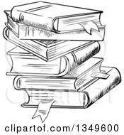 Clipart Of A Black And White Sketched Messy Stack Of Books Royalty Free Vector Illustration