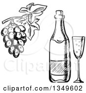 Clipart Of A Black And White Sketched Wine Bottle Glass And Grapes Royalty Free Vector Illustration