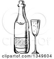Clipart Of A Black And White Sketched Wine Bottle And Glass Royalty Free Vector Illustration by Vector Tradition SM