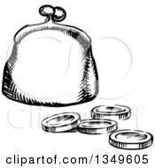 Clipart Of A Black And White Sketched Coin Purse And Change Royalty Free Vector Illustration by Vector Tradition SM