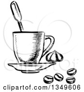 Clipart Of A Black And White Sketched Coffee Cup On A Saucer Beans And Dollop Of Cream Royalty Free Vector Illustration