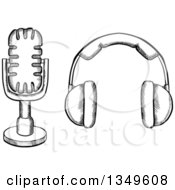 Clipart Of A Black And White Sketched Microphone And Headphones Royalty Free Vector Illustration by Vector Tradition SM