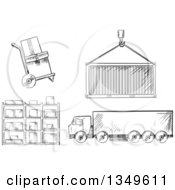 Clipart Of A Black And White Sketched Dolly With Boxes Crane Lifting A Cargo Container Big Rig Truck And Warehouse Shelves Royalty Free Vector Illustration
